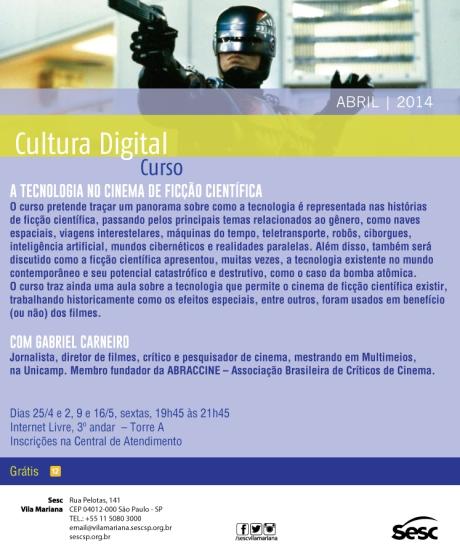 A Tecnologia no Cinema de Ficção Científica, Sesc Vila Mariana, abr-mai/14