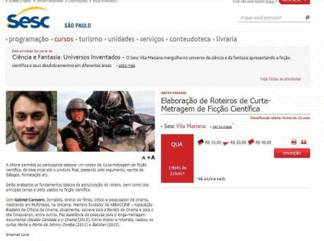 Oficina Elaboração de roteiro de ficção científica, Sesc Vila Mariana, abr-mai/14