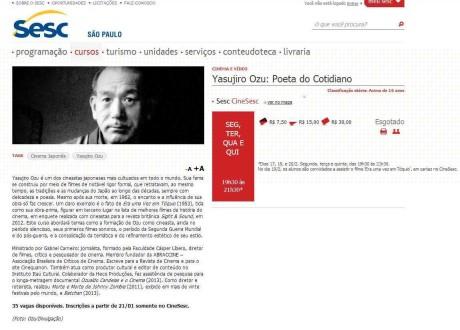 Curso Yasujiro Ozu: Poeta do Cotidiano, Cinesesc, fev/14
